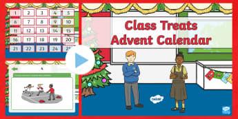 Class Treat Advent Calendar PowerPoint - Christmas, Xmas, Advent, calendar, treat, surprise, reward, special, count down,