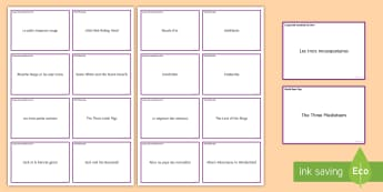 World Book Day Matching Cards - KS3 French World Book Day vocabulary journée mondiale livre stories histoires contes,French.