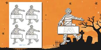 Editable Halloween Mummy Self Registration - Halloween, pumpkin, witch, bat, scary, black cat, Self registration, register, editable, labels, registration, child name label, printable labels, mummy, grave stone, cauldron, broomstick, haunted house, p