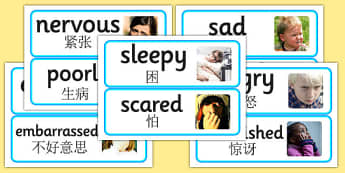 Large Detailed Emotions and Feelings Photo Word Cards Chinese Mandarin Translation - chinese mandarin, emotions
