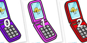 Numbers 0-31 on Mobile Phone - 0-31, foundation stage numeracy, Number recognition, Number flashcards, counting, number frieze, Display numbers, number posters