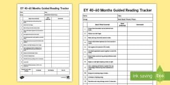UAE EY 40-60 Months Guided Reading Tracker Record - UAE EY Assessment, reading, guided reading, assessment, tick list, tracker, EYFS, Development Matter