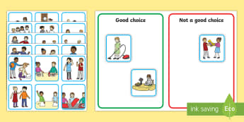 Good Home Choices – Discussion and Sorting Cards - friendships, home, behaviour, sorting, good behaviour, bad behaviour, autism, ASD