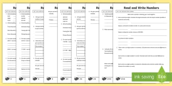 Year 5 Read and Write Numbers Mastery Differentiated Activity Sheets - Year 5 Maths Mastery Activities, read, write, numbers, numerals, words