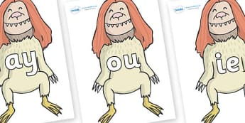 Phase 5 Phonemes on Wild Thing (2) to Support Teaching on Where the Wild Things Are - Phonemes, phoneme, Phase 5, Phase five, Foundation, Literacy, Letters and Sounds, DfES, display