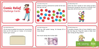 KS1 Comic Relief Maths Challenge Cards - Comic Relief, Comic, fun, funny, money, do something funny for money, challenge, maths, number, add,