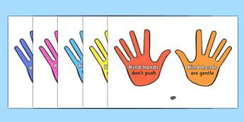 Kind Hands Display Posters - kind hands, education, home school, child development, children activities, free, kids, children behaviour, behavior children, behaviour management, helpful