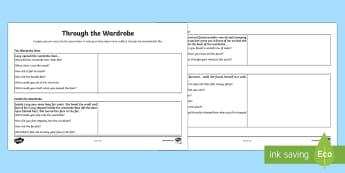 Through the Wardrobe Creative Writing Planning Activity Sheet - Narnia, planning, story plan, imaginative, creative, descriptive, literacy, creating texts, workshee