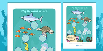 Under The Sea Sticker Reward Chart (30mm) -  Under the sea, sea, seaside, water, tide, fish, sea creatures, shark, whale, marine, dolphin, starfish, waves, sand