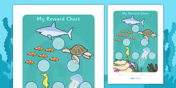 Under The Sea Sticker Reward Chart (30mm) -  Under the sea, sea, seaside, water, tide, fish, sea creatures, shark, whale, marine, dolphin, starfish, waves, sand