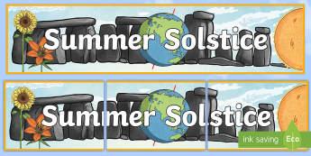 Summer Solstice Display Banner - sun, midsummer, summer, seasons, changing seasons, northern hemisphere, daylight, daytime, longer da