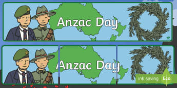 Anzac Day Rosemary Wreath Display Banner - Anzac day, remembrance, rosemary, war, remember, lest we forget,,Australia