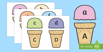 Ice Cream Upper and Lower Case Matching Activity - alphabet, matching, alphabet matching, matching activity, matching game, matching, sorting, sorting game