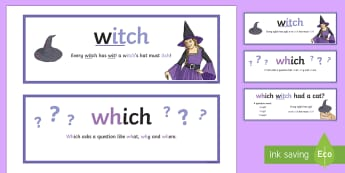 Which or Witch Word Cards - CfE Literacy, spelling, visual memory, strategies, ASL, SfL,Scottish