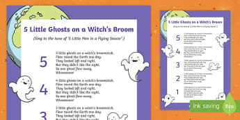 Halloween 5 Little Ghosts on a Witch's Broom Song