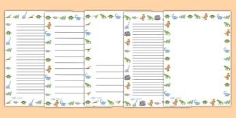 Dinosaurs Page Borders - Dinosaur, page border, a4 border, template, writing aid, writing border, page template, history, t-rex, stegosaurus, raptor, iguanodon, tyrannasaurus rex