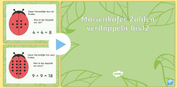Marienkäfer Zahlen verdoppeln PowerPoint - Marienkäfer, Zahlen, verdoppeln, rechnen, addieren, ladybird, numbers, counting, doubling, Maths,Ge