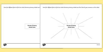 German Primary School Facts Activity Sheet, worksheet