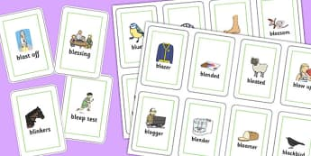 Two Syllable 'BL' Playing Cards - bl sound, syllable, playing cards