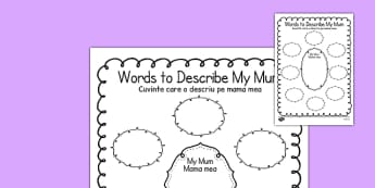 Words to Describe My Mum Template Romanian Translation - romanian, mum, describe, word, template