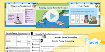PlanIt Y1 Animals: to Support Teaching on Dear Zoo Lesson Pack Poetry (1) - Dear Zoo, animals, stories, repeating parts, poetry, poem, acrostic, performance, audience