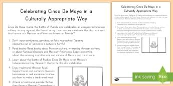 Celebrating Cinco De Mayo in a Culturally Responsive Way Checklist - Cinco de Mayo, Mexico, celebrate, celebration