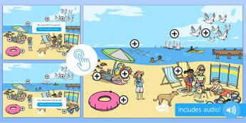 EYFS The Seaside Picture Hotspots - Seaside, summer, beach, sea, maths, number, numeracy, count, coast, sand, sun, sunny