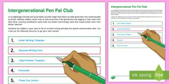 Intergenerational Pen Pal Club Teaching Ideas - Intergenerational Ideas, Care Homes, Elderly Care, Support, Ideas, Activity Co-ordinators