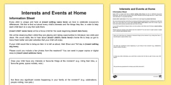 Interests and Events at Home Parent's Letter - In the Moment Planning, Anna Ephgrave, ITMP, information sharing, parents, carers, home information,