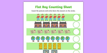 Flat Boy Counting Sheet - flat stanley, flat boy, jeff brown, counting, count