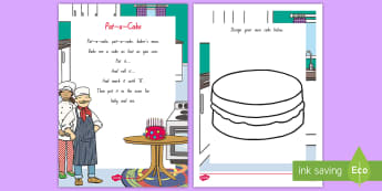 Pat-a-Cake Activity Sheet - NZ Literacy Resources, Year 1-3, nursery rhymes, New Zealand, activity, activities, reading, workshe