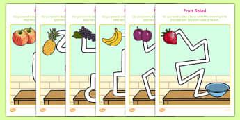 Fruit Salad Pencil Control Path Sheets - olivers fruit salad, fruit salad, pencil control path, pencil, control, path