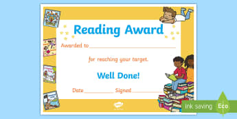 Reading Target Reached Certificate - Accelerated Reader, AR, ZPD, Reading, Fiction, Non Fiction, Reading Comprehension,Scottish