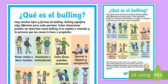 Póster: ¿Qué es el bulling? Póster DIN A4 - Bulling, acoso, acoso escolar, molestar, abuso, abusón, matón, problemas de convivencia, convivenc