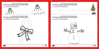 Christmas Pencil Control Sheets Arabic/English - Christmas Pencil Control Sheets - christmas, pencil control, sheets, pencil, control, pencilcontrol,
