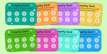 Laundrette Role Play Loyalty Cards -washing, laundrette, washing machine, wash, washing powder, clothes, socks, T-shirt, trousers
