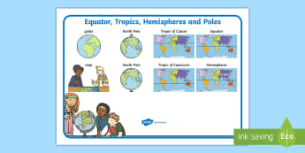 Equator, Tropics, Hemispheres and Poles Word Mat - Australian Curriculum,  The way the world is represented in geographic divisions and the location of
