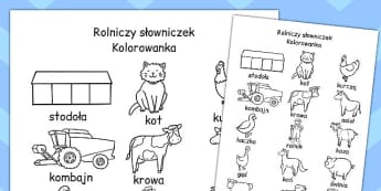 Kolorowanka slowniczek Ferma po polsku - przedszkole , Polish