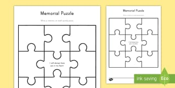Memorial Puzzle Activity Sheet - Grieving Through Tragedy, memories, expression, feelings, loved one, puzzle, write, worksheet