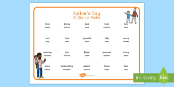 Father's Day Descriptive Word Mat English/Spanish - Fathers Day Descriptive Word Mats - fathers day, fathers day word mat, fathers day key words, father