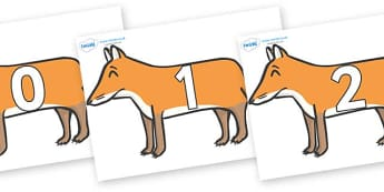 Numbers 0-50 on Foxes - 0-50, foundation stage numeracy, Number recognition, Number flashcards, counting, number frieze, Display numbers, number posters