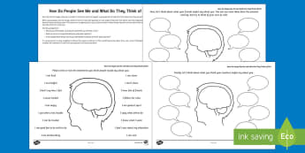 How Do People See Me? Activity Sheet - young people, PSHCE, emotions, anger, self-esteem, confidence, worksheet