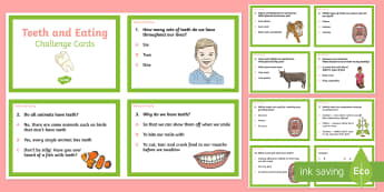 Teeth and Eating Challenge Cards - teeth, eating, challenge cards, challenge, cards, animals, humans, tooth