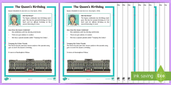 KS1 The Queen's Birthday Differentiated Reading Comprehension Activity - KS1 The Queen's Birthday (21st April 2017), Year 1, Year 2, Year One, Year Two, Y1, Y2, Queen Eliza