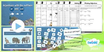 PlanIt Y2 SPaG Lesson Pack: Adjectives with er est - GPS, spelling, grammar, suffix, er, est
