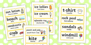 Seaside Word Cards Polish Translation - polish, seaside, word cards