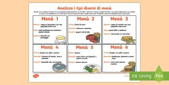 Attività Analizza i Tipi Diversi di Menu Esercizio - cibo, appetito, salute, salutare, menu, ristorante, alimenti, alimentare, italiano, italian