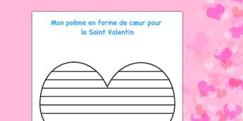 Maquettes de formes pour poésie de la Saint-Valentin - french, shape, poetry, poems, Poésie, poème, Saint, Valentin, écriture, forme, cœur