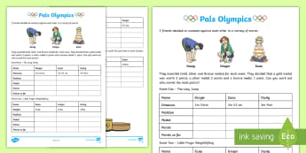 Pals Olympics Activity Sheet - Learning from Home Maths Workbooks, measure, compare, units, distance, volume, worksheet