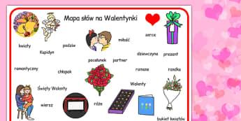 Plansza ze slownictwem na Walentynki do polsku - materialy  , Polish
